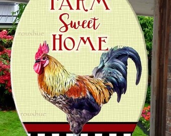 "Farm Sweet Home Rooster Suncathcer, 6.5"" x 9"", Glass, black & white checkerboard, burgundy strip creme background, farm decor"