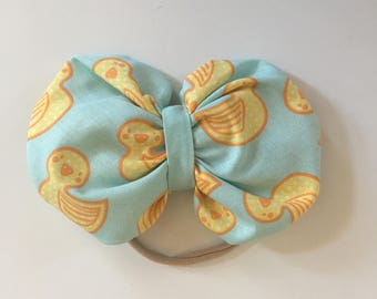 Fabric Hair bow - Cotton Hair Bow - Rubber Ducky Hair Bow - Rubber Ducky Print - Yellow Duck Print - Baby Hair Bow - Girl Hair Bow
