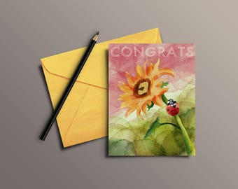 Watercolor ladybug on sunflower Congratulations greeting card - Digital Download only