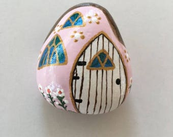 Pink Hand Painted Rock House with Teardrop Wooden Door, Stained Glass Windows & Gold Trim