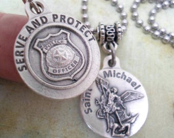 Police officer etsy serve and protect police protection necklace st michael patron saint of police officers aloadofball Gallery