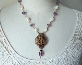 Amethyst & Freshwater Pearl Vintage Assemblage Filligree Lavalier Necklace