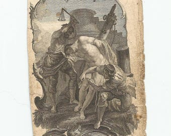 RARE! Antique Steel Engraving, Vintage Holy Card, Catholic Collectible, 1700s (?), Martyrdom of St. Athenogenes