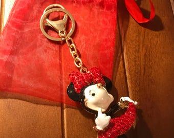 Minnie Mouse Diamante Keyring