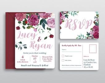 Rose Floral Modern Wedding Invitations & RSVPs