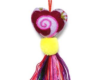 Mexican Pom Pom, Pom Pom Charm, Pom Pom Purse Charm, Pom Pom Bag Charm, Mexican Folk Art, Heart Pom Pom, Boho Bag Charm, Bag Charm