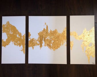 ORIGINAL canvas painting gold leaf white modern art