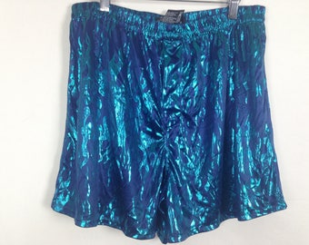 Metallic blue flame shorts size M/L