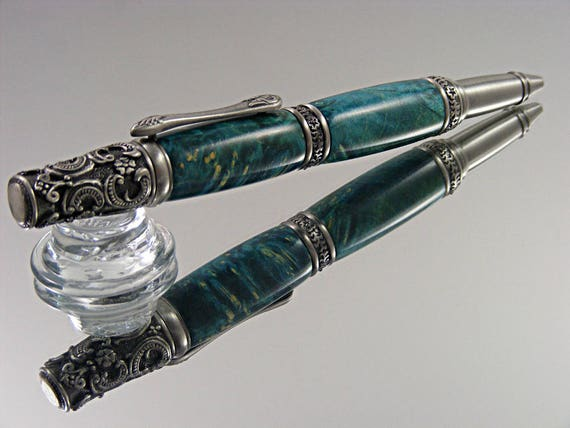 Handcrafted Victorian Ink Pen in Antique Pewter and Turquoise Box Elder