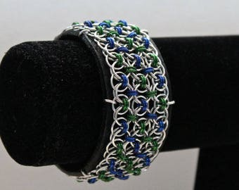 Chainmaille Cuff Bracelet, Black Leather Cuff, Chainmaille Bracelet, Cuff Bracelet, Blue and Green, Leather Cuff, Small / Medium