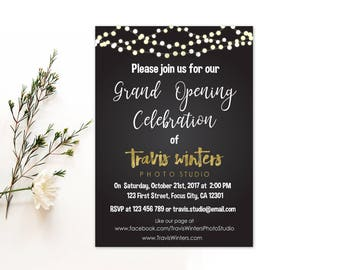 Personalized Grand Opening Celebration Invitation Store Studio Opening String Lights Photo Studio Chalkboard Printable DIY - Digital File