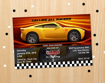 Personalized Cars 3 Cruz Ramirez Birthday Party Invitation Race Car Racing Invite Printable DIY - Digital File