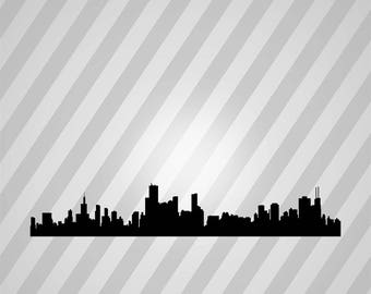 chicago skyline Silhouette - Svg Dxf Eps Silhouette Rld RDWorks Pdf Png AI Files Digital Cut Vector File Svg File Cricut Laser Cut