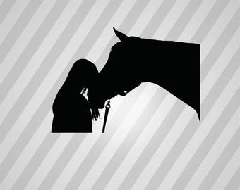 Kissing Horse Silhouette - Svg Dxf Eps Rld Rdworks Pdf Png Ai Files Digital Cut Vector File Svg File Cricut Laser Cut