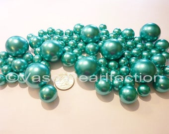 All Turquoise Blue Pearls/Teal Blue Pearls Vase Fillers in Jumbo and Assorted Sizes for Centerpieces