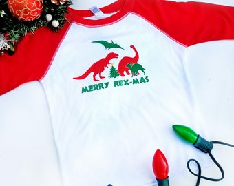 Dinosaur Christmas T-shirt, Funny Holiday Kids Shirts, Merry Rexmas Raglan, Christmas Baseball Tee, Funny Christmas Shirt, Holiday Kids Tee