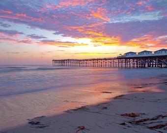 Sunset Pier Beach Print, Coastal Wall Print, Sunset Photo, Pacific Beach San Diego, Beach Artwork, Landscape Photography