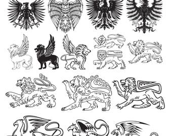 Heraldic animal #1 Svg/Eps/Png/Jpg/Cliparts,Printable, Silhouette and Cricut File !!!