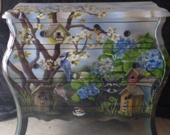 Exquisite, hand painted Chest of Drawers by DeNece