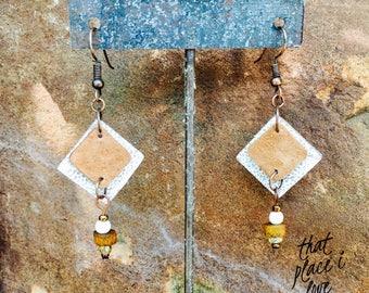 Neutral Bohemian Style Earrings / Dangle Earrings / Boho Jewelry / Leather Earrings