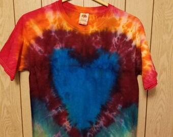 Heart pattern tie dye tee