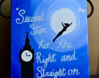 "Canvas Peter Pan ""Second star to the right and straight on till morning"""