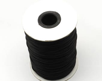 5 m satin 2 mm black waxed cord thread