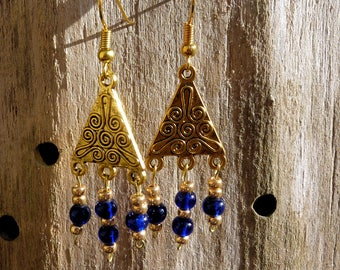 Blue beads and gold triangle earrings
