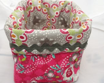 Fabric basket gray and Fuchsia