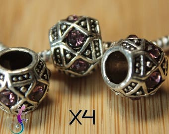 4 beads European charms silver metal with old pink rhinestones for bracelet or necklace European A34