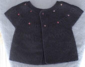 Short sleeve Cardigan handknitted for girl