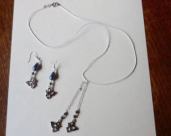 Set necklace and earrings Butterfly silver
