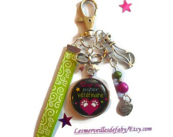 "Bag charm, door keys/vet / ""for my super veterinarian"" / gift / Wonderland faby/party/birthday"