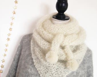 Shawl white mohair with a hint of silver