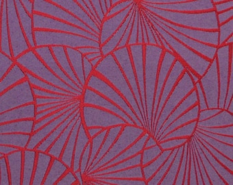 Fabric, art deco water lilies, lilies, purple, red, Thévenon