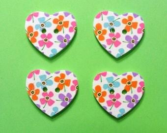 SET 4 wooden buttons: heart flower 24 * 22mm (No. 3)