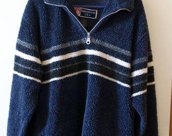 Blue striped sweatshirt, super cozy, half zip, oversized,