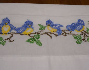 Set of two hand stitched blue bird standard size pillow cases