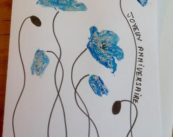 Blue poppies card double hand painted glitter-birthday card - greeting card - art card