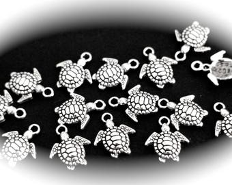 10 TURTLE charms in silver