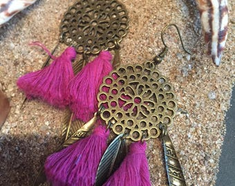 Bohemian earrings with pink tassels and bronze