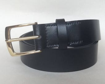 "1 1/4"" wide leather handmade black belt with solid brass buckle"