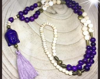 Necklace meditation acai and wood, purple