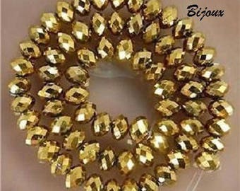 20 faceted Crystal beads Gold 8 x 6 mm