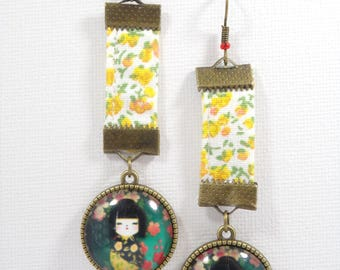 Bronze dangling earrings in yellow floral cotton fabric and a glass cabochon motif geisha