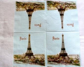 Set of 2 33x33cm Paris Eiffel Tower paper napkins