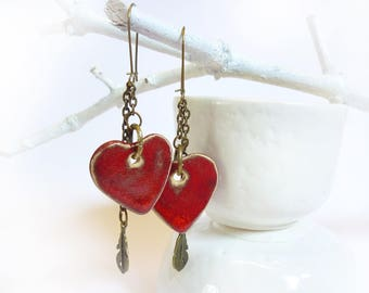 Red heart ceramic Stud Earrings