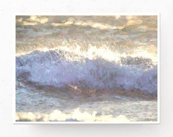 Wave Painting, Digital Download, Ocean Picture, Coastal Art, Ocean Waves, Surf Picture, Gold Decor, Ocean Print, Printable Wall Art