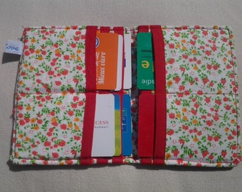 Orange red floral fabric wallet