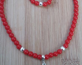 Necklace cherry red beads, pendant